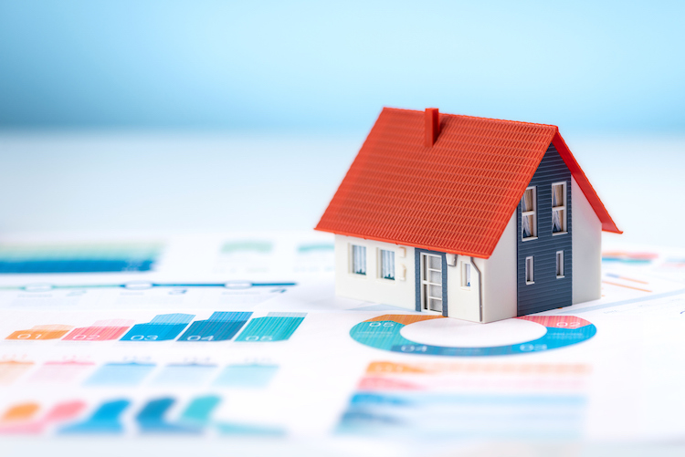 model house on financial graph