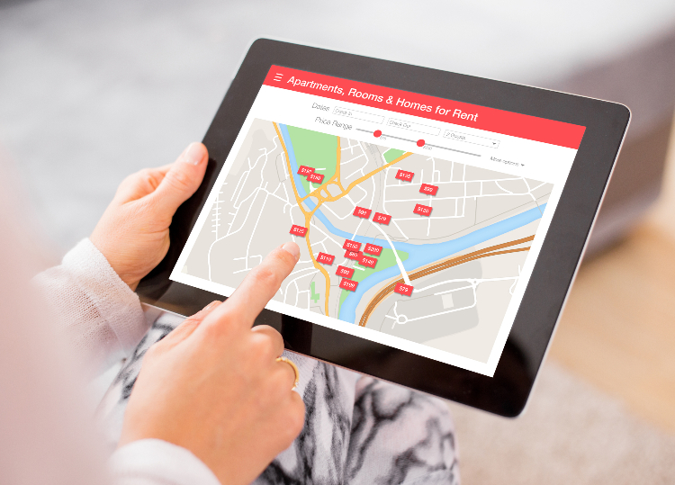 tablet with real estate map